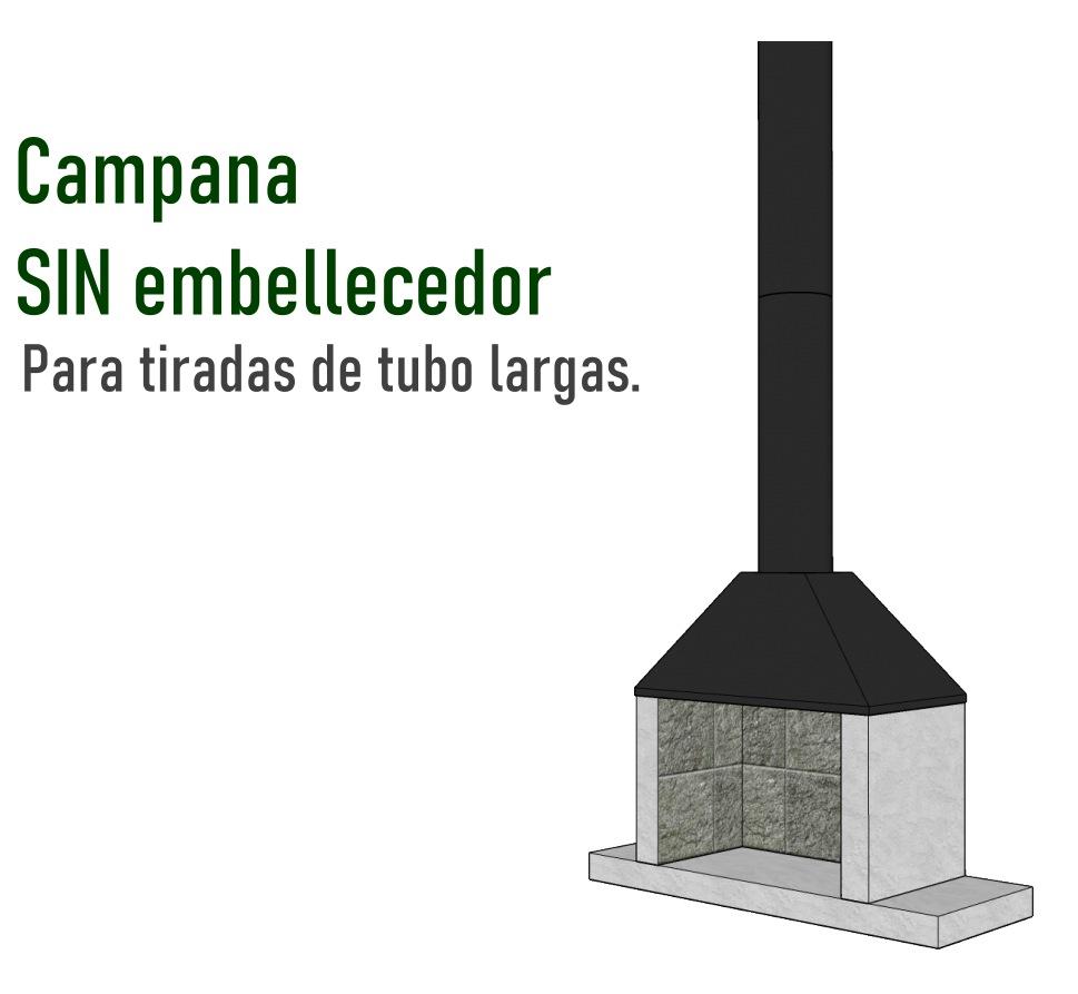 Ejemplo instalacion campana sin embelledor. Con tubo