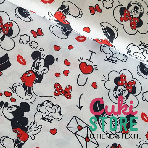ALGODON 100% DISNEY MICKEY MINNIE LOVE