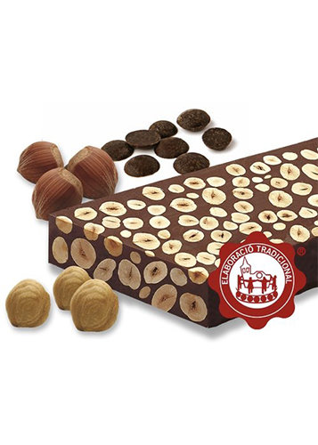 Turrón de chocolate con avellanas (chocolate 60%)(avellanas 40%). Calidad Suprema. Peso neto 500g