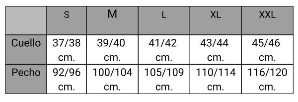 Guía tallas camisa hombre